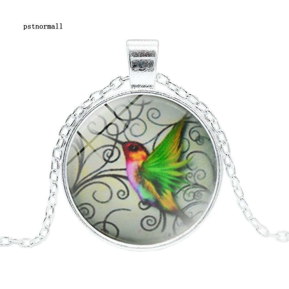 Vintage parrot Cabochon bronze Glass Chain Pendant Necklace Jewelry New