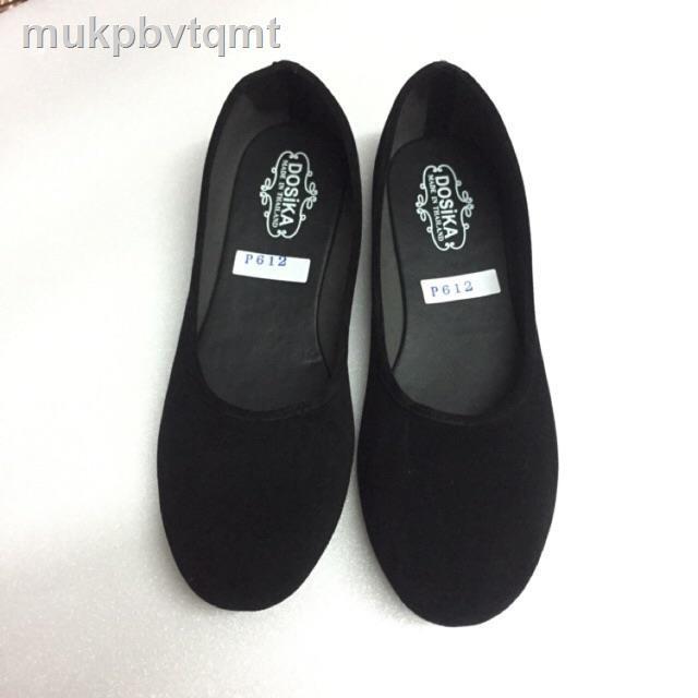 รองเท้าผู้หญิง◐36-44 รองเท้าคัชชูส้นเตี้ย กำมะหยี่สีดำ ใส่เรียนใส่ทำงาน พื้นเรียบ ดำขน รองเท้านักศึกษา