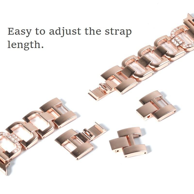 สง่างาม สายนาฬิกา Apple Watch Straps เหล็กกล้าไร้สนิม รูปสี่เหลี่ยมขนมเปียกปูน สาย Applewatch Series 6 5 4 3 2 1, Apple