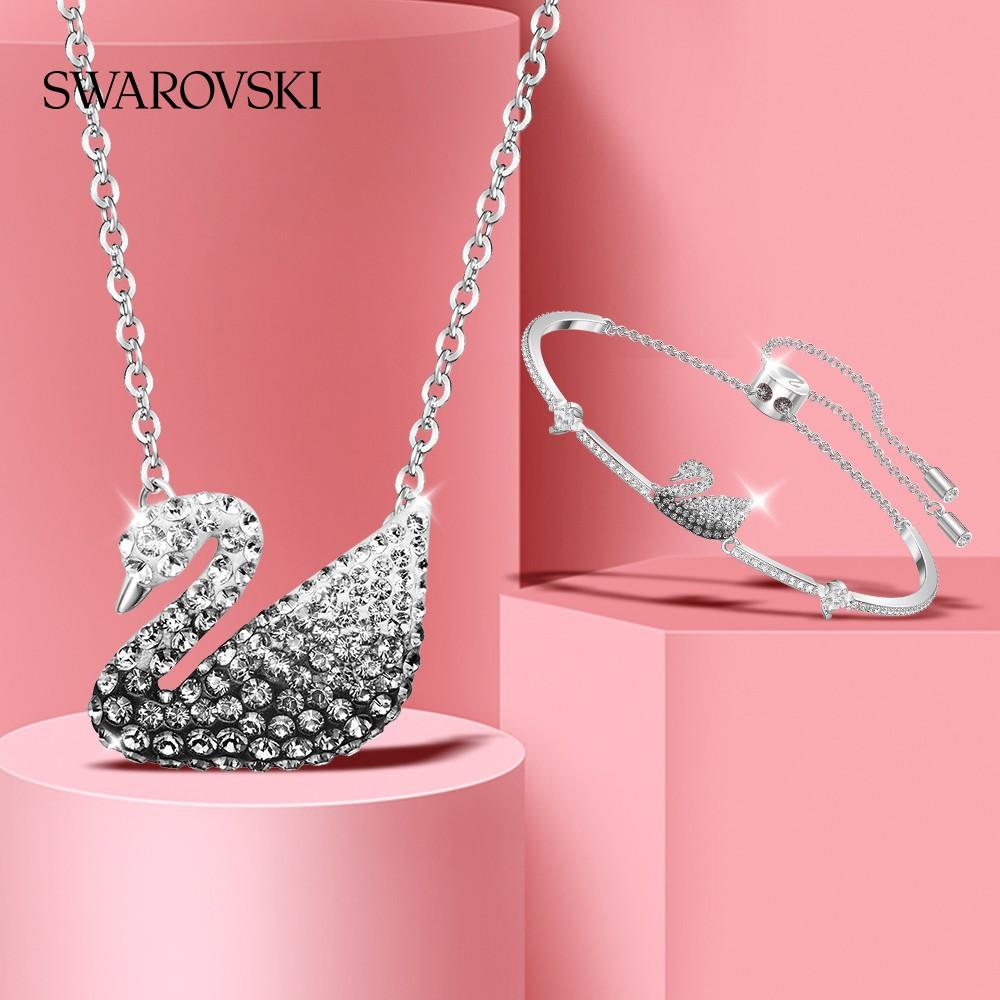 สวารอฟสสีดำและสีขาวลาดหงส์Swarovski Iconic Swan หญิงสร้อยคอ+สร้อยข้อมือ ชุด W5DG