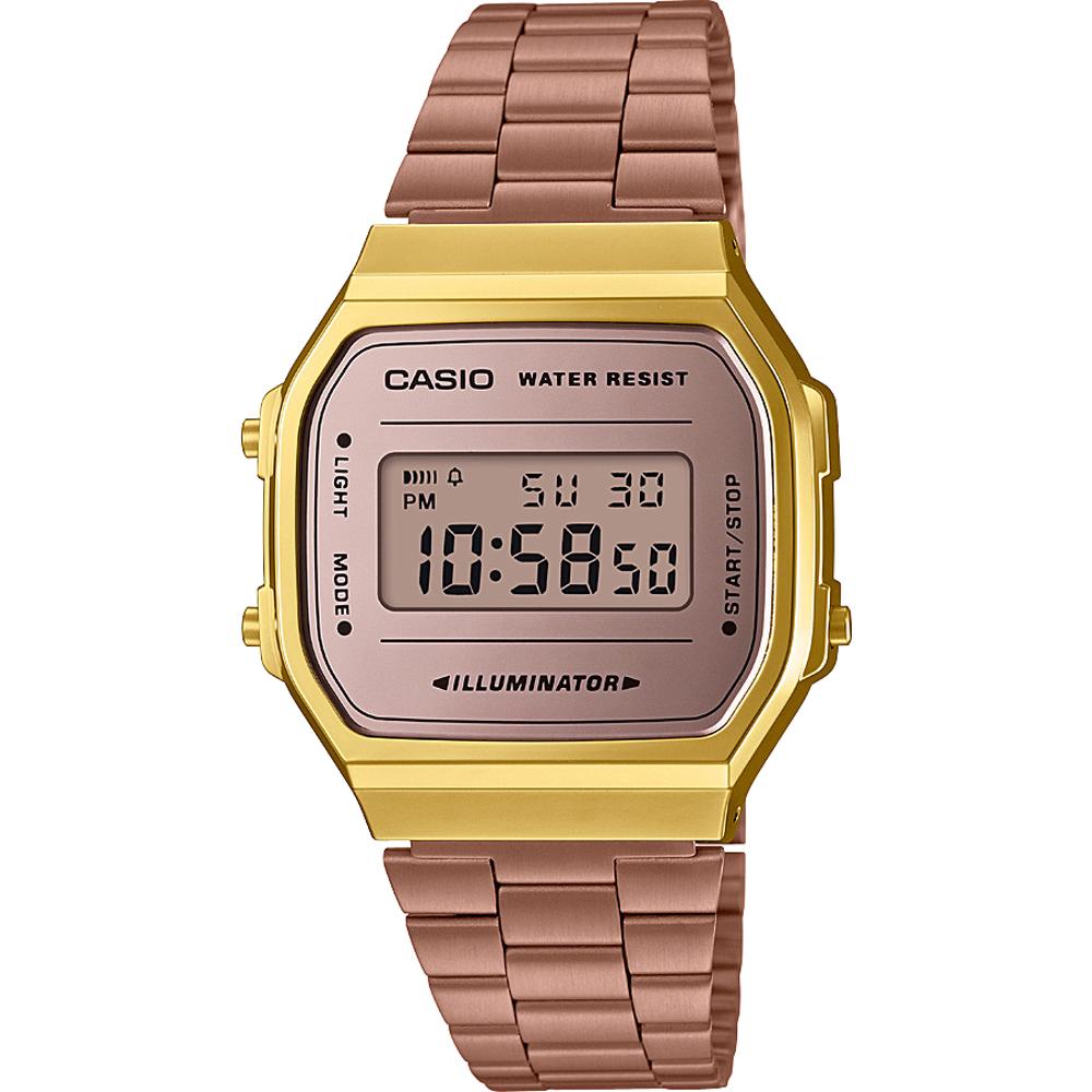 (จุดด่างพร้อย)Casio Digital Vintage นาฬิกาข้อมือ หน้าปัดกระจกเงา สายสแตนเลส รุ่น A168WEM, A168WEGM, A168WECM ของแท้