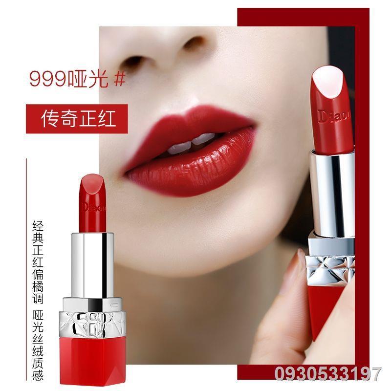 ۞✿❇ของแท้ Dior Yafei lipstick 999ให้ความชุ่มชื้นไม่ซีดจางไม่ติดถ้วยนักเรียนปาร์ตี้ชุดกล่องของขวัญแต่งหน้าธรรมดา