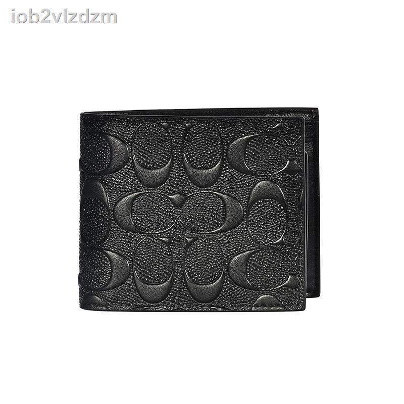 COACH/COACH กระเป๋าสตางค์ใบเล็กลายนูนชายสั้นครึ่งพับกระเป๋าสตางค์สีดำบรรจุภัณฑ์กล่องของขวัญ Ole F75371