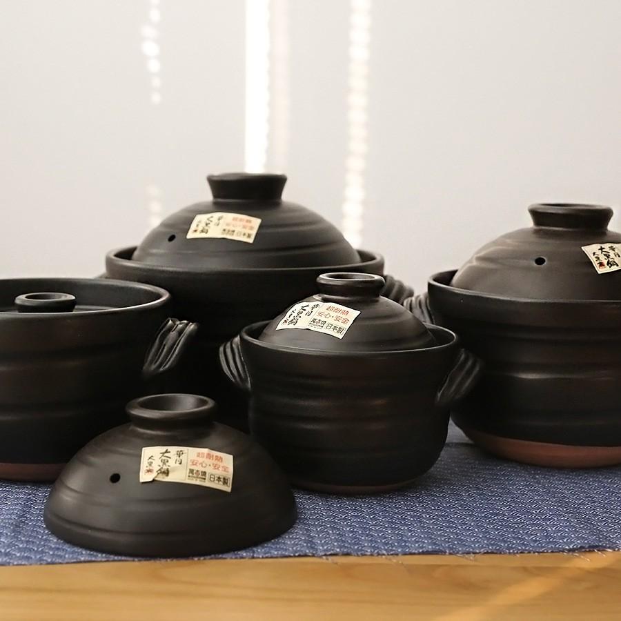 ญี่ปุ่นนำเข้านิรันดร์การเผาไหม้ Huayue หม้อดินสีดำขนาดใหญ่ในครัวเรือนแก๊สหม้อตุ๋นหม้อซุปสองฝาหม้อ