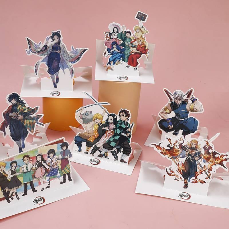 ฟิกเกอร์ รูปการ์ตูนอะนิเมะ ขนาดเล็ก สําหรับตกแต่งบ้าน สำนักงาน Japan Anime Demon Slayer Kimetsu No Yaiba Kamado Tanjirou Nezuko paper Figure Stand Model Plate Desk Decor Itadori kids gift Agatsuma Zenitsu Hashibira Inosuke