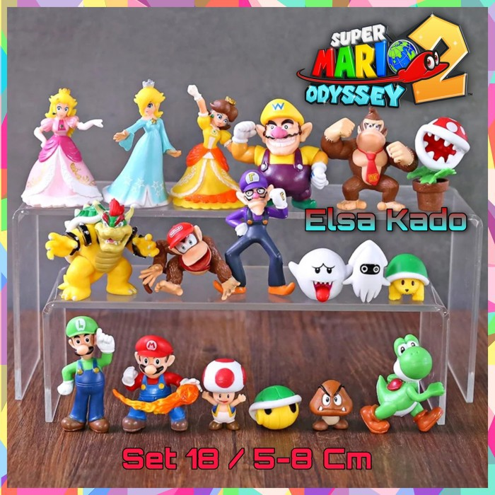 ฟิกเกอร์ Mario Bross Action Figure Set Of 18 สําหรับตกแต่งเค้ก