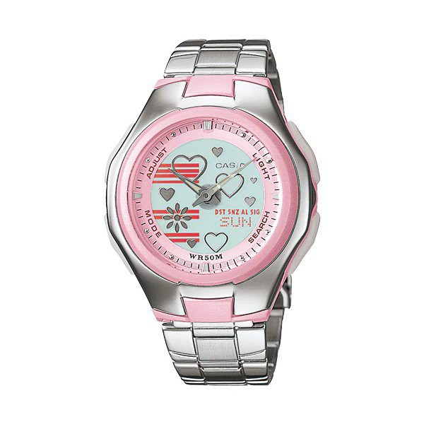 CASIO POPTONE นาฬิกาผู้หญิง สีเงิน สายสแตนเลส รุ่น LCF-10D-4AVDRF