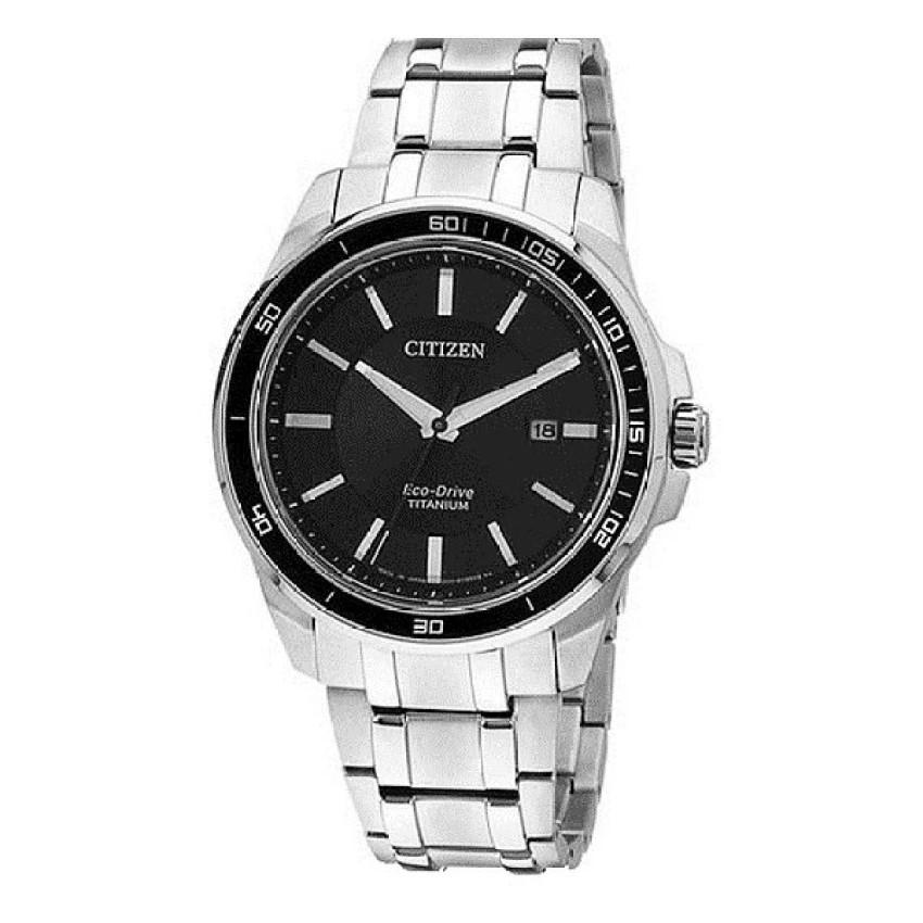 CITIZEN Eco-Drive Titanium Analog Black Dial Men's Watch BM6921-58E - Silver/Black