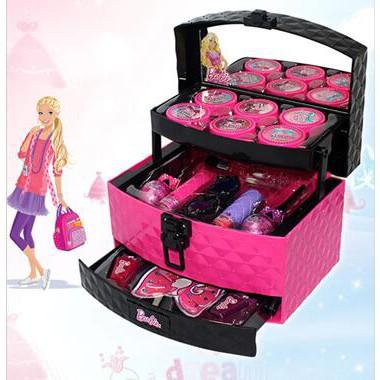 ตุ๊กตาบาร์บี้เด็กเครื่องสำอางเจ้าหญิงแต่งหน้ากล่องกระเป๋าเดินทางชุดเจ้าหญิงสาวตุ๊กตาเล็บแสดงวันเกิด