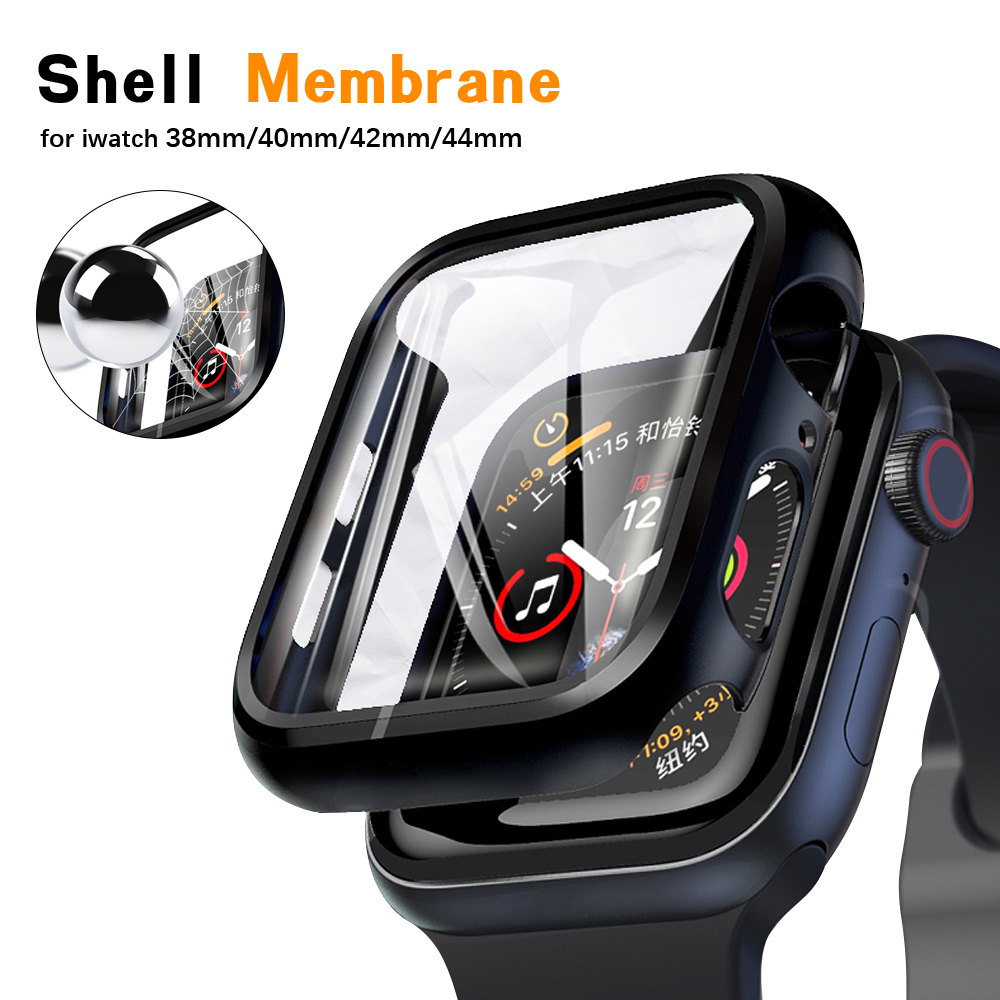 For Apple Watch 40 44mm screen HD clear glass protective film + ultra-thin protective case for Iwatch Series 6 / Se / 5/4/3/2/1