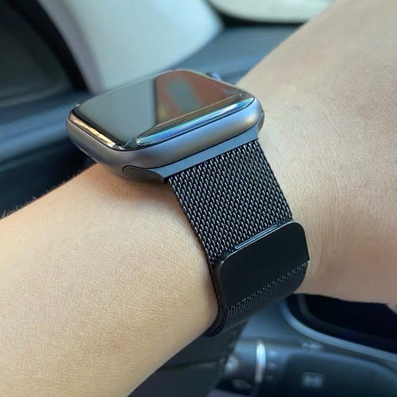สาย AppleWatch Milanese วัสดุ สแตนเลสสตีลสายเปลี่ยนนาฬิกาข้อมือ AppleWatch Band Milanese Loop Series 1 2 3 4 5 6 SE