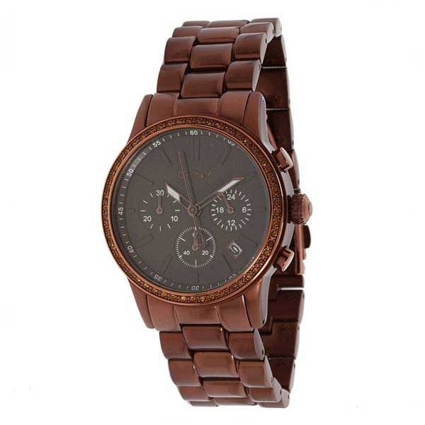 7a46e63abb8 นาฬิกาผู้หญิง DKNY Chronograph Brown Aluminum Ladies Watch รุ่น NY8349