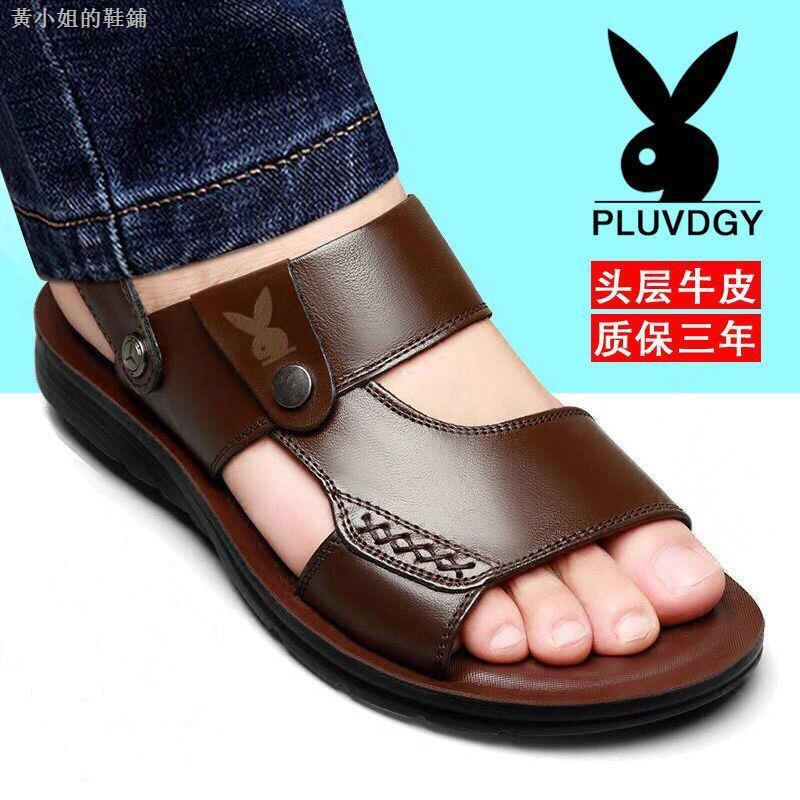 Playboy รองเท้าแตะหนังชายกันลื่น