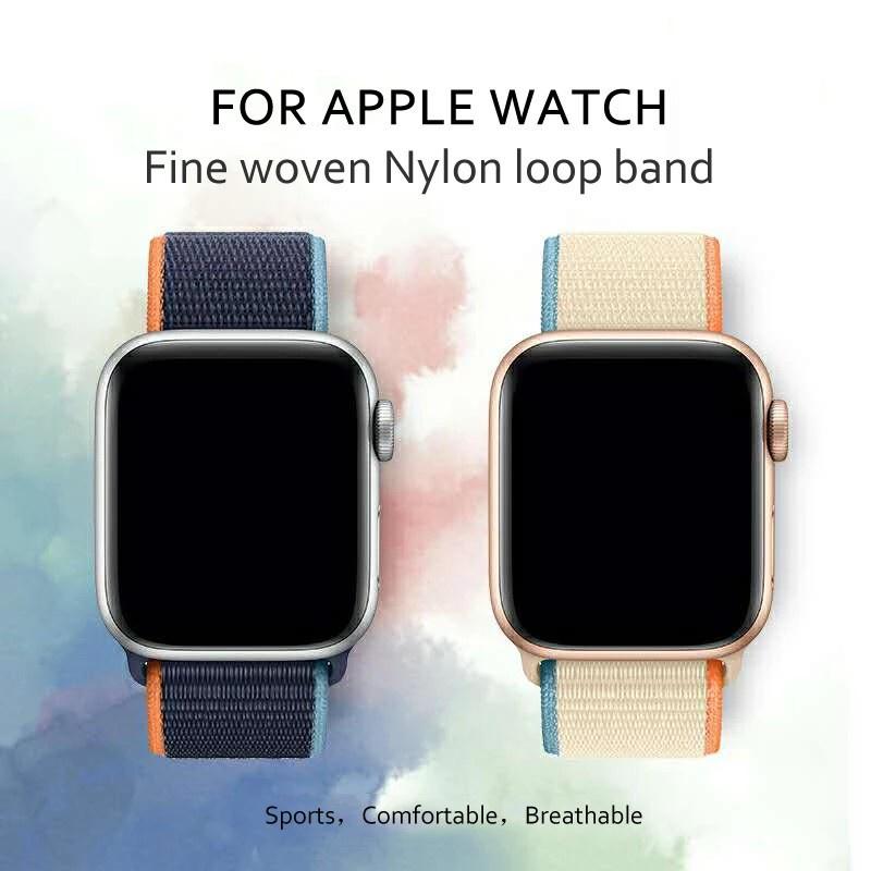 【พร้อมส่ง】สายนาฬิกาข้อมือไนล่อนสําหรับ Apple Watch Band 40 มม. 44 มม. สําหรับ Iwatch Strap 38 มม. 42 มม. Series 6 5 Se 4 3 2 1
