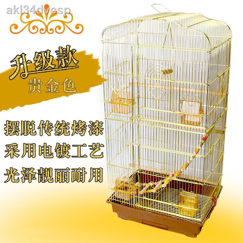 พร้อมส่ง❀◑กรงนกนกแก้ว Xuanfeng หนังเสือกรงนกแก้วสีทอง วิลล่าขนาดใหญ่หรูหราเหล็กดัดกรงนกขนาดใหญ่กล่องเพาะพันธุ์