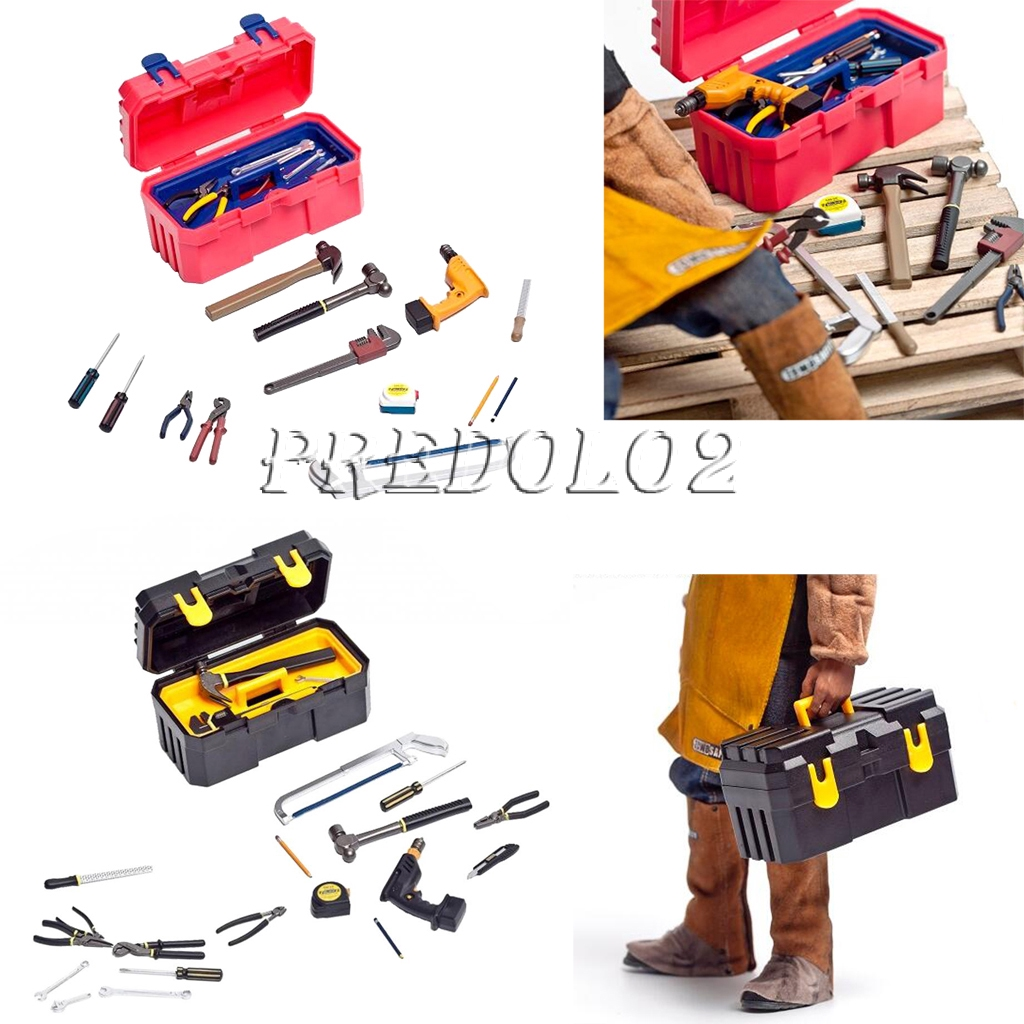 22pcs 1//6 Repair Tools Toolbox Kit Accessories for 12/'/' Action Figure Red