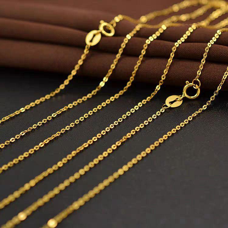ทอง AU750 ทองคำที่เป็นของแข็ง 18K ประทับกระพริบ O ห่วงโซ่กระดูกโซ่ปรับน้ำหนัก 0.3g ของแท้จัดส่งฟรี ราคาส่งคำสั่งมินิ 5 ชิ้น
