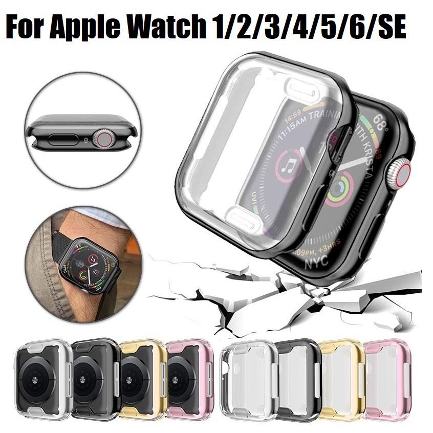 พร้อมส่ง‼️ Apple Watch Series 1,2,3,4,5,6, เคส Apple Watch SE Case กันรอย Apple watch Case Iwatch TPU เเบบใสเเละนิ่ม 38mm 40mm 42mm 44mm Cover