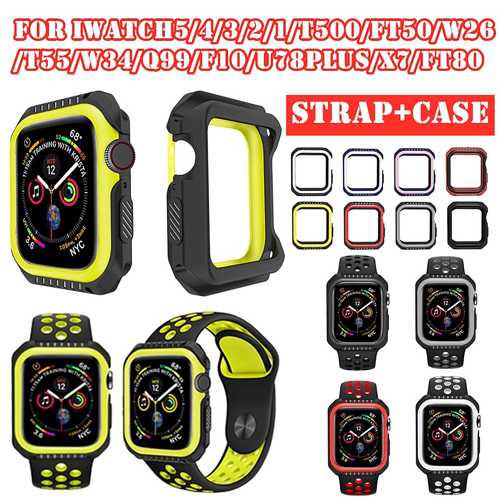 Ready StockSilicone Soft Protective Case + Breathable Nike Strap iWatch Series 6/SE/5/4/3/2/1 For Apple Watch 44mm 40mm 38mm 42mm T500/T5/T55/W34/FT50/W26/FT50