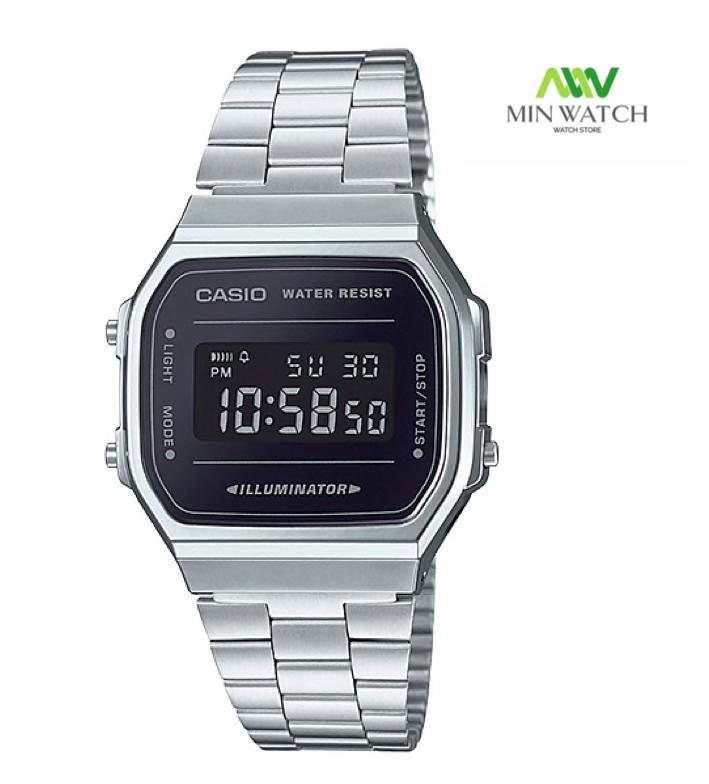 นาฬิกา รุ่น Casio  นาฬิกาข้อมือ หน้าปัดกระจกเงา สายสแตนเลส รุ่น A168WEM ของใหม่ของแท้100% ประกัน1 ปี จากร้าน MIN WATCH J