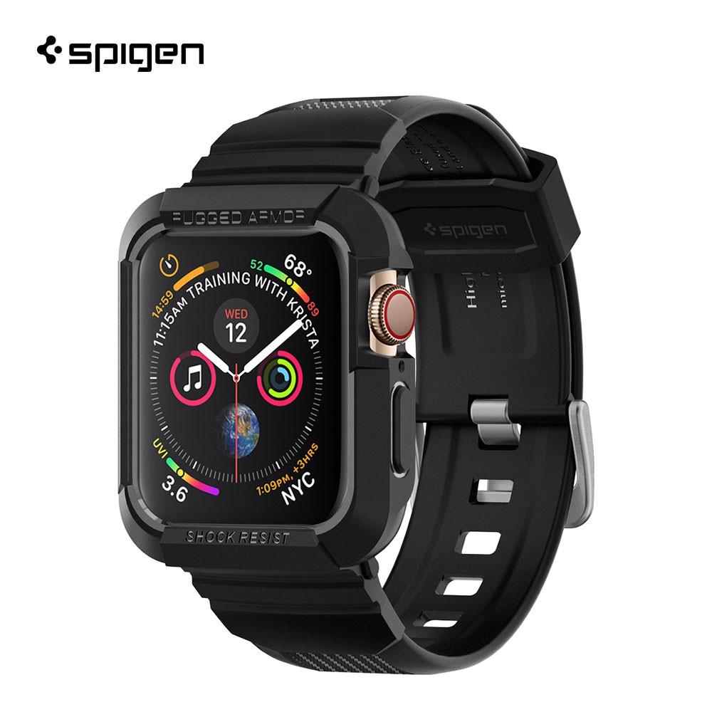 SPIGEN เคสพร้อมสาย Apple Watch Series 4 (44mm) Case Rugged Armor Pro : Black