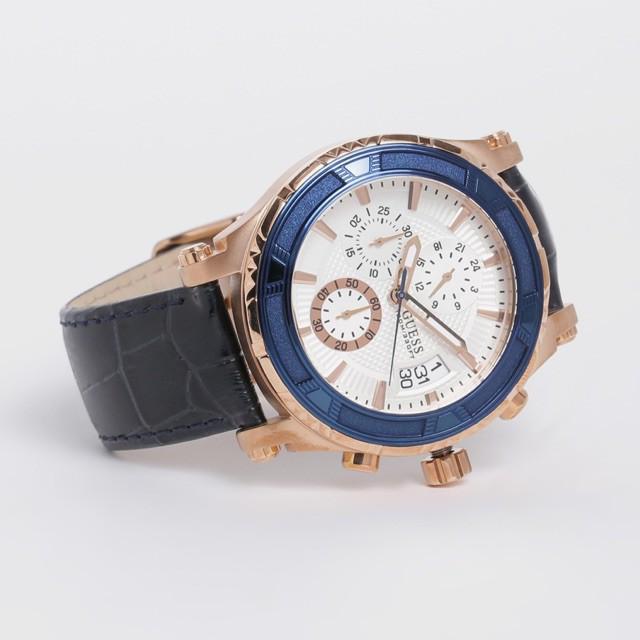 (ผ่อน0%) นาฬิกา ชาย Guess Mens Guess Pinnacle Chronograph Watch W0673G6  สายหนังสีดำ  ตัวเรือน สีrosegold  หน้าปัด สีขาว