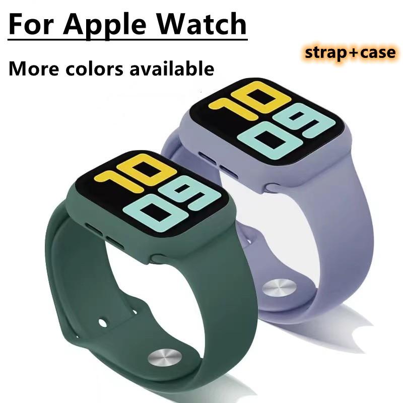 สาย applewatch สายนาฬิกา applewatch สายซิลิโคนและฝาปิดกระจกนิรภัยสีเดียวกันสาย Apple Watch + เคส Apple Watch Series 6 5