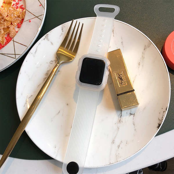สาย applewatch เหมาะสำหรับสาย applewatch 435 รุ่น iwatch น้ำใสกีฬาแบบบูรณาการสร้างสรรค์เปลือกป้องกันหนังซิลิโคน