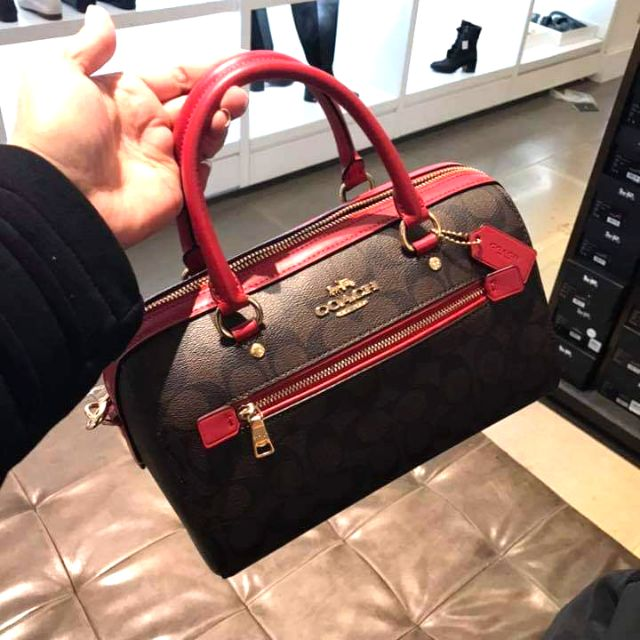 กระเป๋าCoach หมอนCoach 10นิ้ว สีแดง F83607 Rowan Satchel Signature Coated Canvas handbag True Red