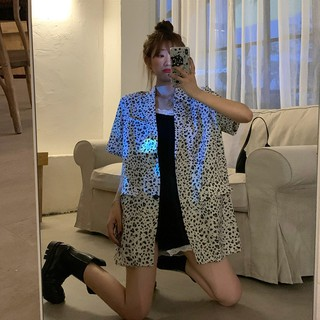 Review Summer 2020 new loose retro Hong Kong style suit leopard shirt female summer