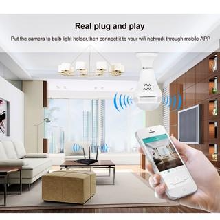 กล้องหลอดไฟ กล้องวงจรปิด รูปทรงหลอดไฟ มีLED+Infrared Bulb Camera Panoramic CCTV Wireless IP Camera 1.3MP HD 960P