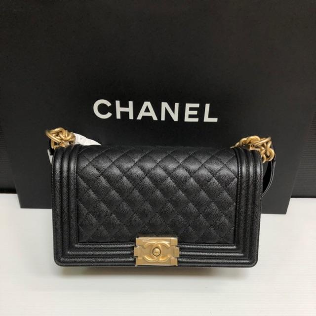 "Chanel Boy 10"" black caviar ghw Holo28 อปก ครบ"