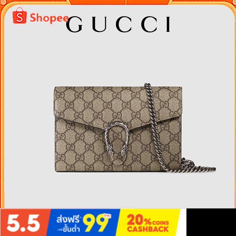 Gucci Dionysus GG Supreme ของแท้กระเป๋าแฟชั่นผู้หญิงสะพายข้างเดียว (หนัง PVC)