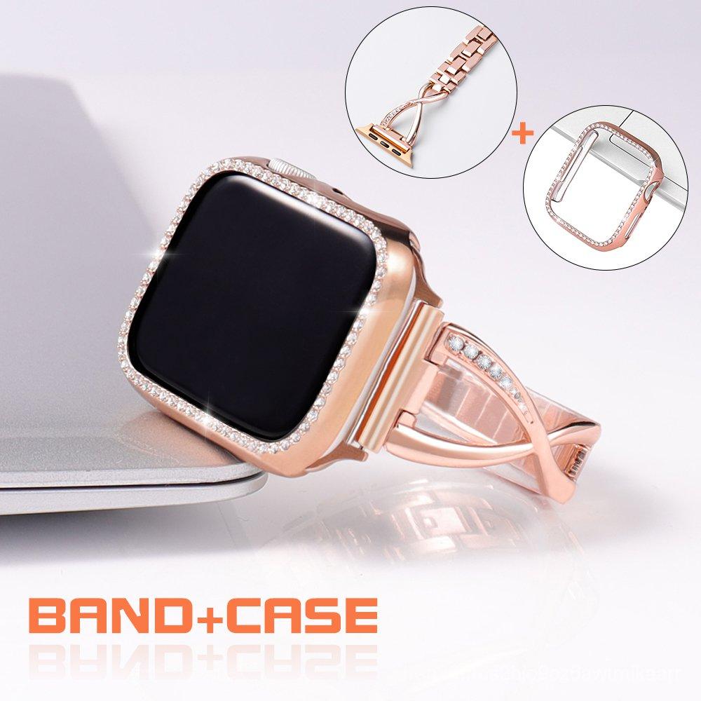 Diamond Band + case For Apple Watch 40mm 44mm 38mm 42mm iWatch series 5 4 3 2 1 bracelet stainless steel strap women wat