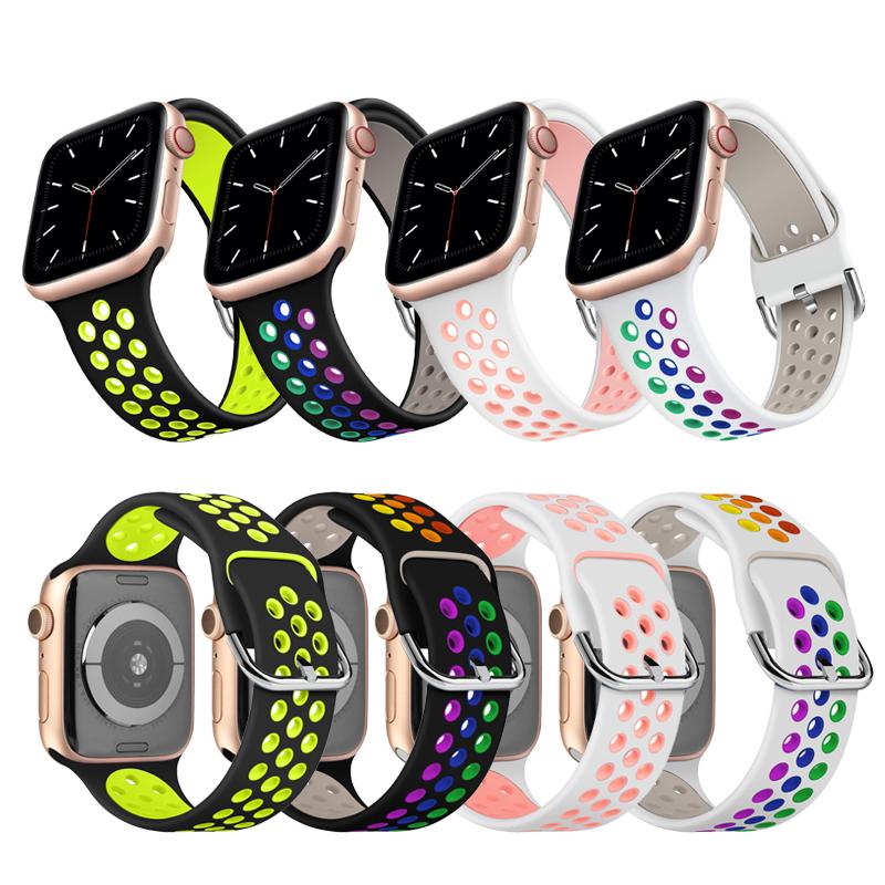 สายนาฬิกาข้อมือซิลิโคนสําหรับ Apple Watch Series 6 5 4 3nike Two - Color 38 / 40 / 42 / 44 มม .