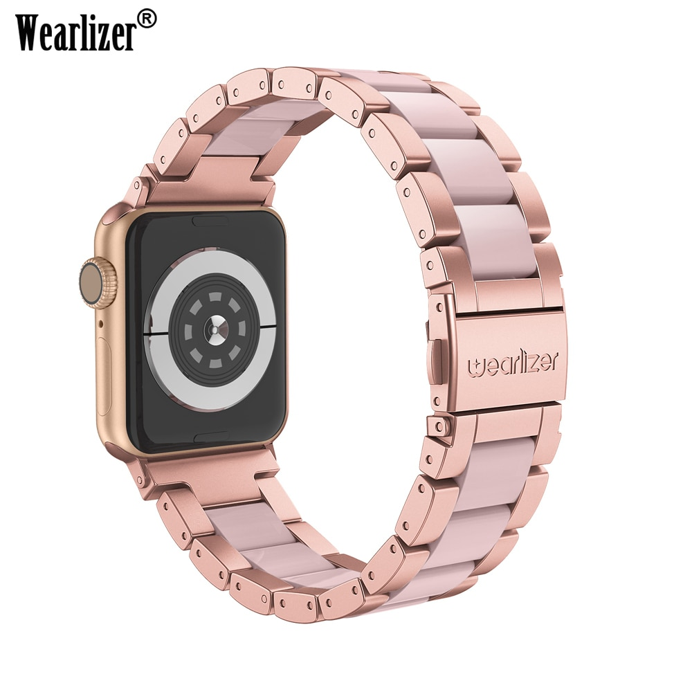 Wearlizer For Apple Watch Band Stainless Steel Strap for Apple Watch Series 5 4 3 2 1 Clasp Butterfly Watchband for Appl