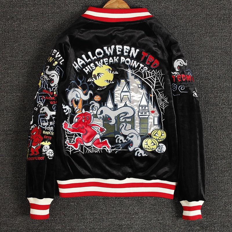 SUKAJAN พรีเมียมเกรด Japanese Souvenir Jacket  แจ็คเกตซูกาจันลาย    HALLOWEEN TED