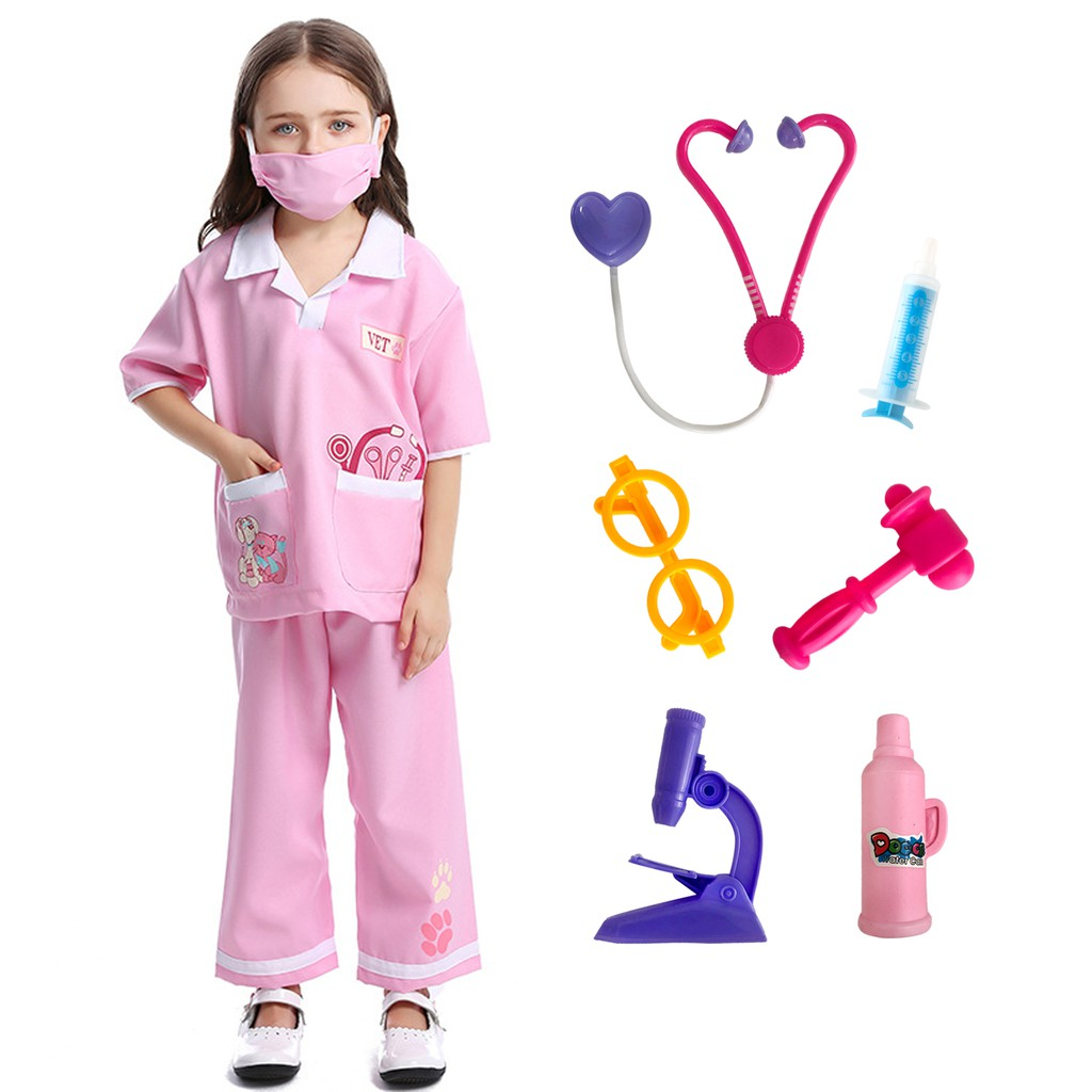 Surgeon Uniform Costume Kids Boy Girl Doctor Hospital Fancy Dress Party Outfit