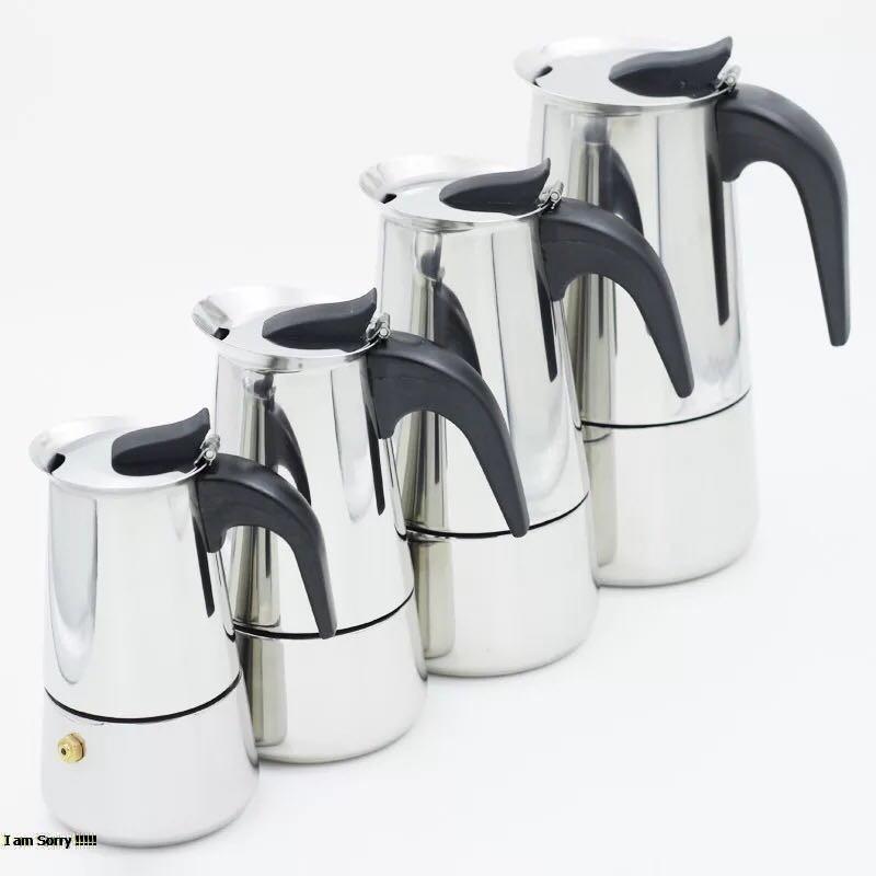 กาต้มกาแฟสดแบบพกพา สแตนเลส 304 หม้อต้มกาแฟแบบแรงดัน เครื่องทำกาแฟสด 200ml, 300ml, 450ml