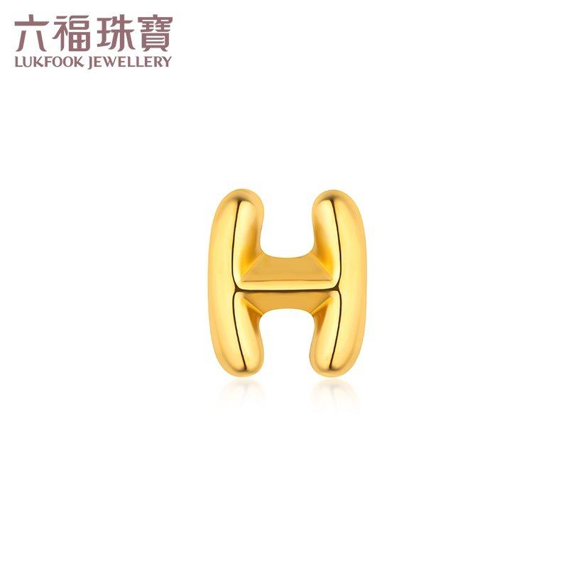 Luk Fookเครื่องประดับตัวอักษรHต่างหูทองคำฮาร์ดทองต่างหูเดี่ยวต่างหูทองคำราคาของขวัญHXA1TBE0013