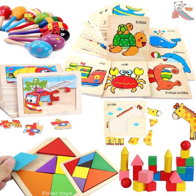 จิ๊กซอว์ บล็อคไม้ ของเล่นไม้ ที่เขย่ามือ (ราคาต่อ 1ชิ้น) เสริมพัฒนาการเด็ก ปลอดภัยสำหรับเด็กค่ะ