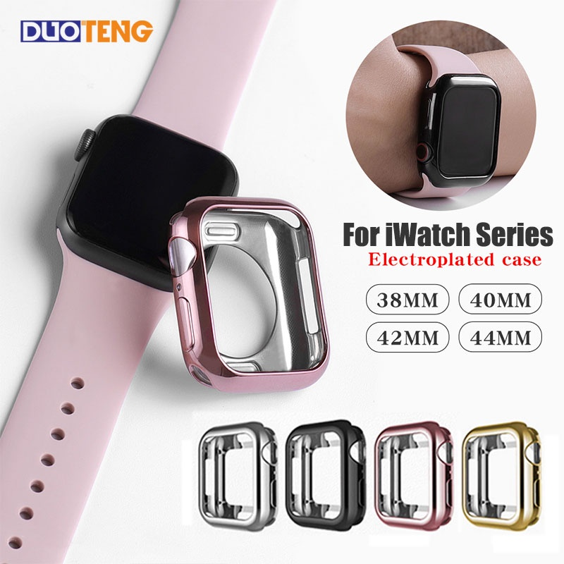 Duo Teng Protective Case For Apple watch Cover SE 6 5 4 3 2 1 TPU cases for iwatch 38mm 44mm 40mm 42mm Silicone Half pack Electroplating Protector