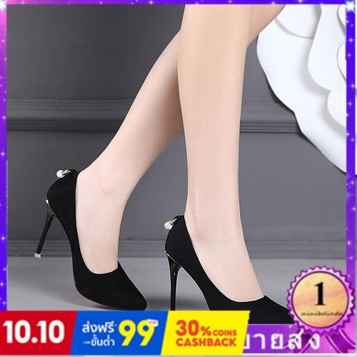 ⭐👠รองเท้าส้นสูง หัวแหลม ส้นเข็ม ใส่สบาย New Fshion รองเท้าคัชชูหัวแหลม  รองเท้าแฟชั่นรองเท้าส้นสูงของผู้หญิงกริชรองเท้าเ