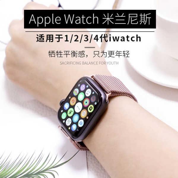 สาย applewatch Applewatch สายนาฬิกา series4 รุ่นสร้างสรรค์ iwatch6 Milanese สายนาฬิกา Apple SE เทรนด์บุคลิกภาพสามรุ่น 3/