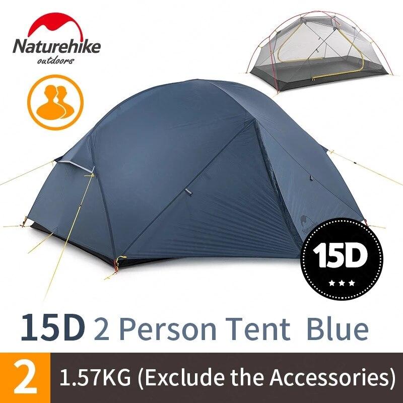 Naturehike 15D Mongar 2 Campingเต็นท์กลางแจ้งUltralight Camping 2คนDouble Layerเดินป่าเต็นท์ฟรีNH17T007