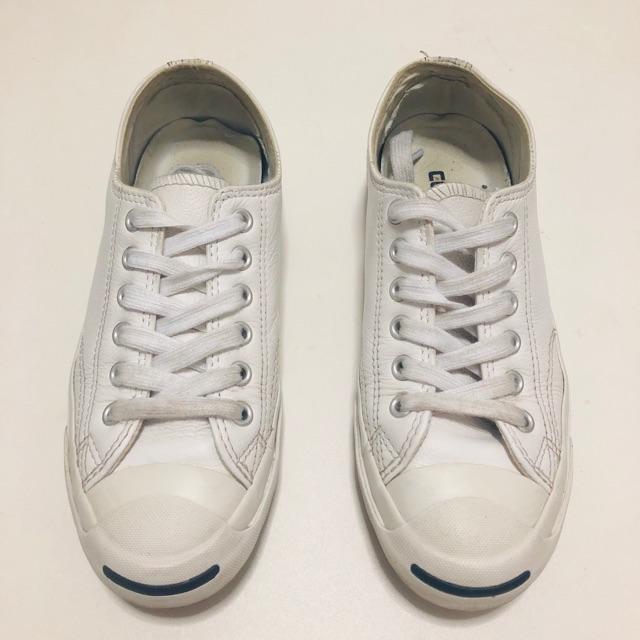 รองเท้าผ้าใบCONVERSE มือสอง หนัง  JACK PURCELL LEATHER OX WHITE SIZE 36,3.5UK,22CM.