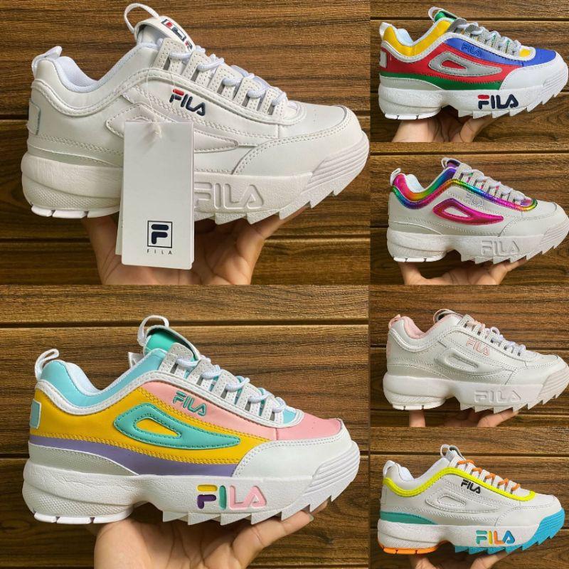 *รองเท้าวิ่ง* ของแท้Fila Disruptor รองเท้าพื้นหนา