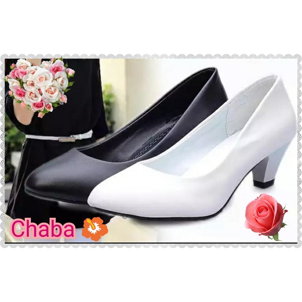 รองเท้าคัชชู ขาว/ดำรองเท้าส้นสูง