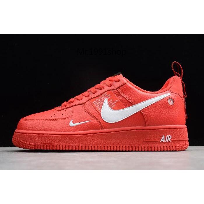 ภาพจริง Nike Air Force 1 '07 LV8 Utility Red / White