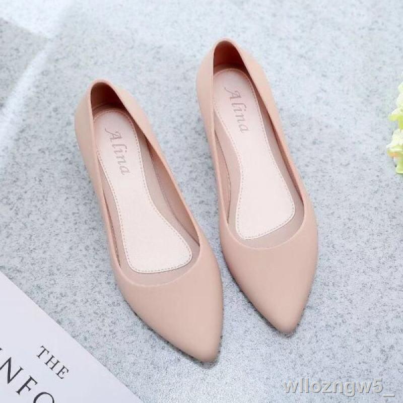 รองเท้าแตะผู้หญิง❁❅ใหม่ล่าสุด!!รองเท้าคัชชูหัวแหลม รองเท้ายางส้นสูง ยางนิ่ม คัชชูเจลลี่ (มี4สี สินค้าพร้อมส่ง)